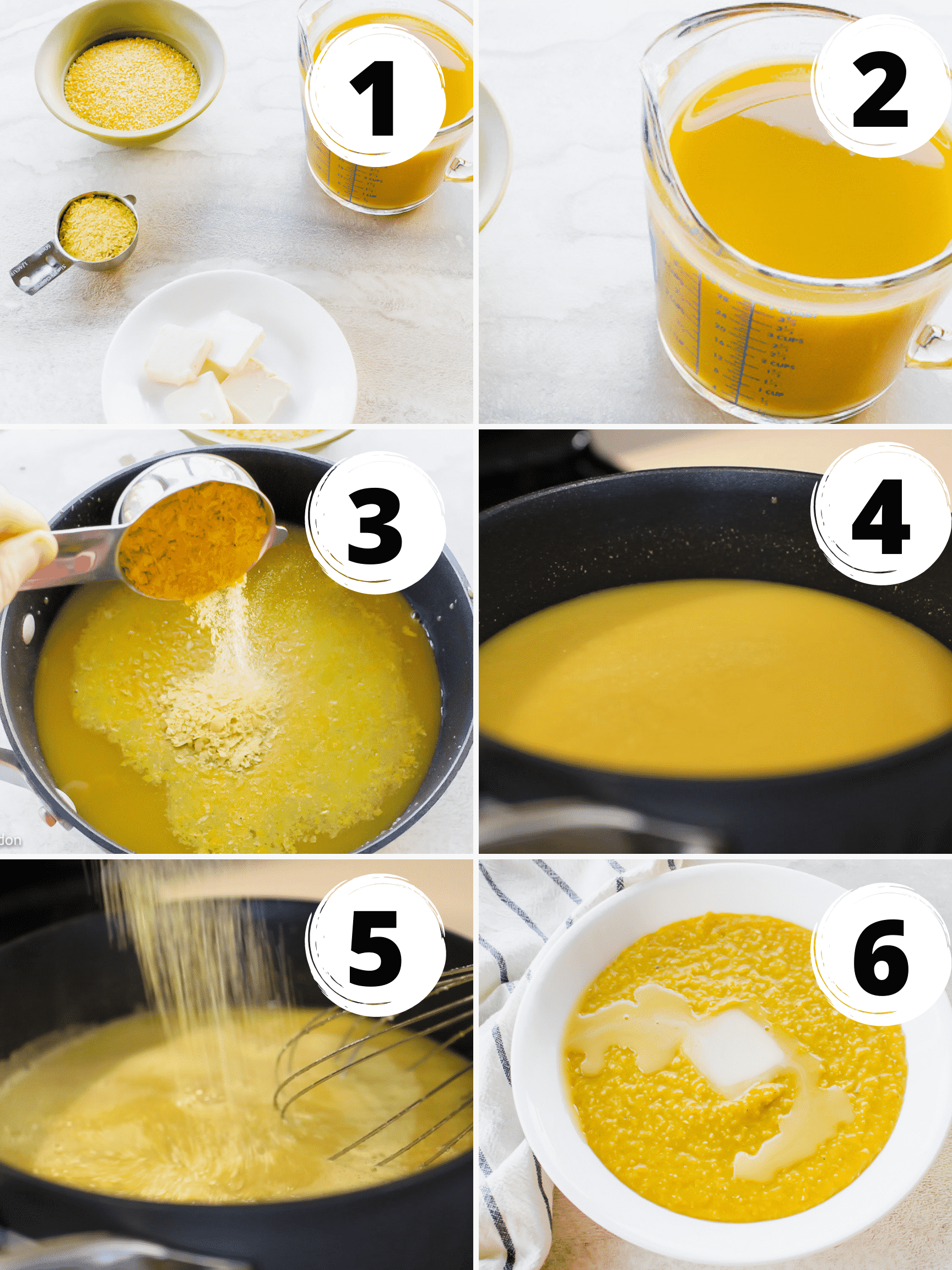 Collage of steps to make vegan grits with nutritional yeast
