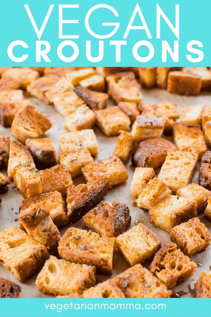Close-up shot of vegan croutons on parchment paper with overlay text
