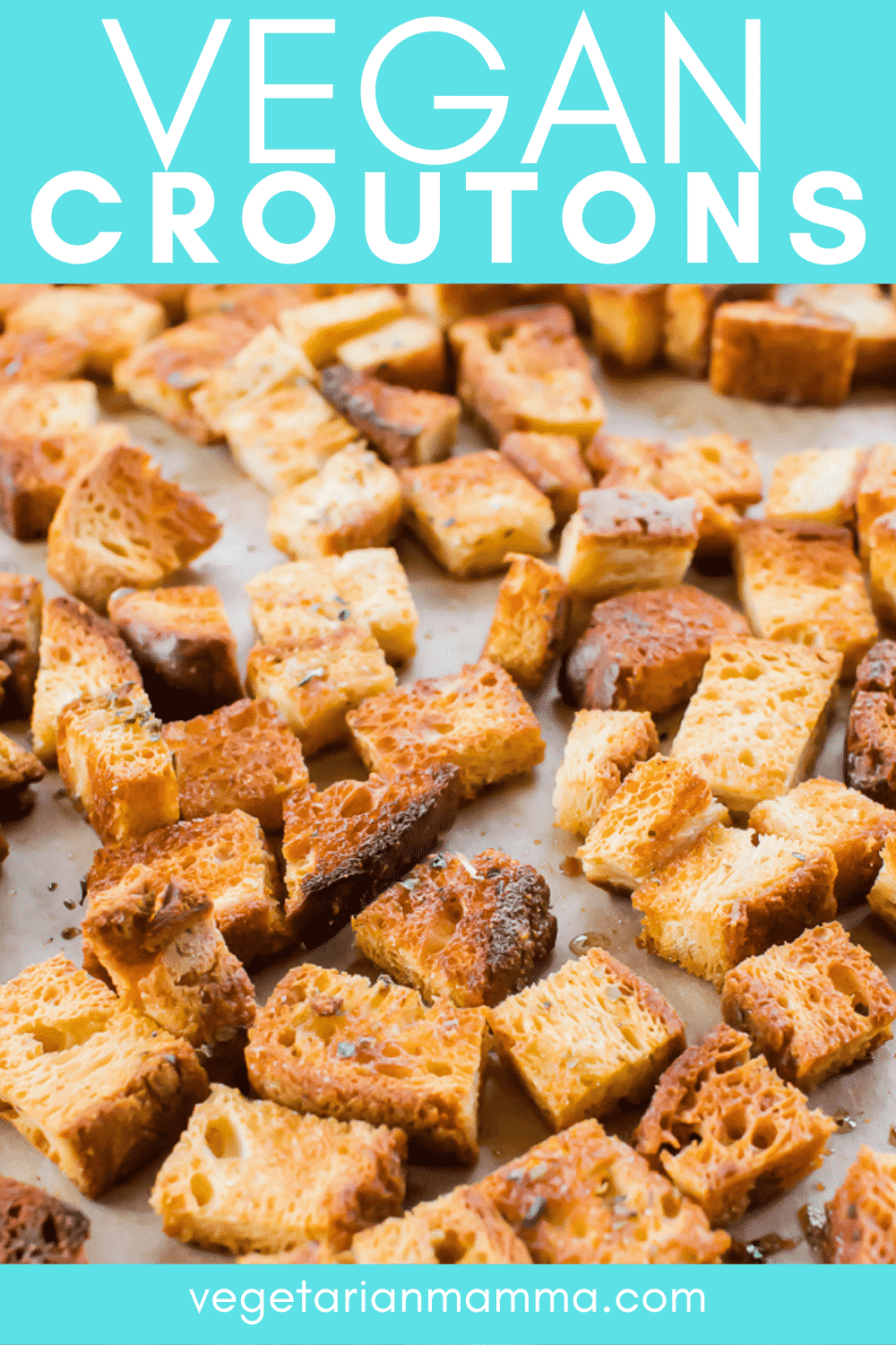 Vegan Croutons are the crunchy piece your favorite soup or salad is missing! You only need 5 pantry staples to whip up these homemade croutons. #vegancroutons #homemadecroutons