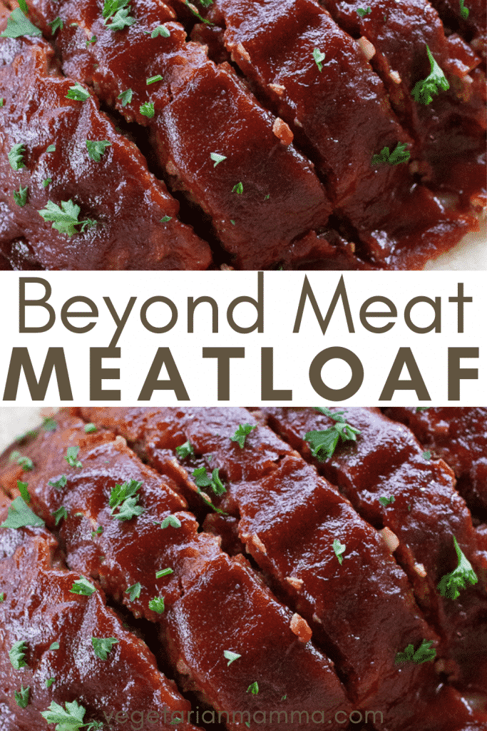 Close-up shots of a glazed Beyond Meat meatloaf with overlay text