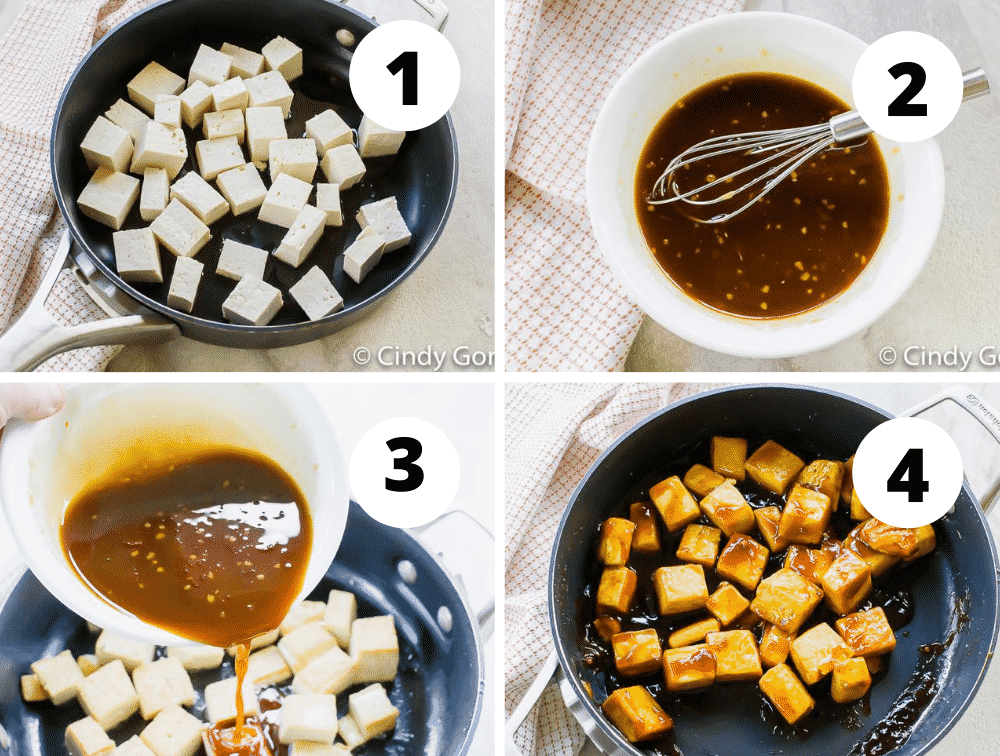 Collage of steps to make pan-fried tofu with an Asian-inspired sauce