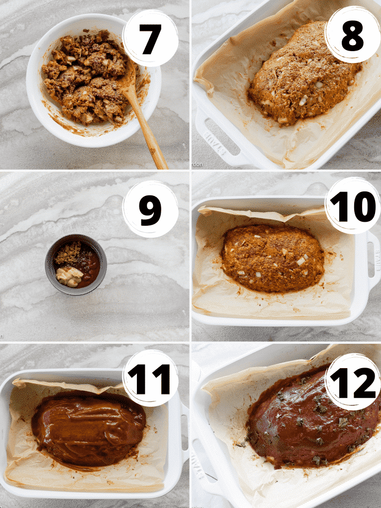 Collage of steps to form and bake a vegan meatloaf