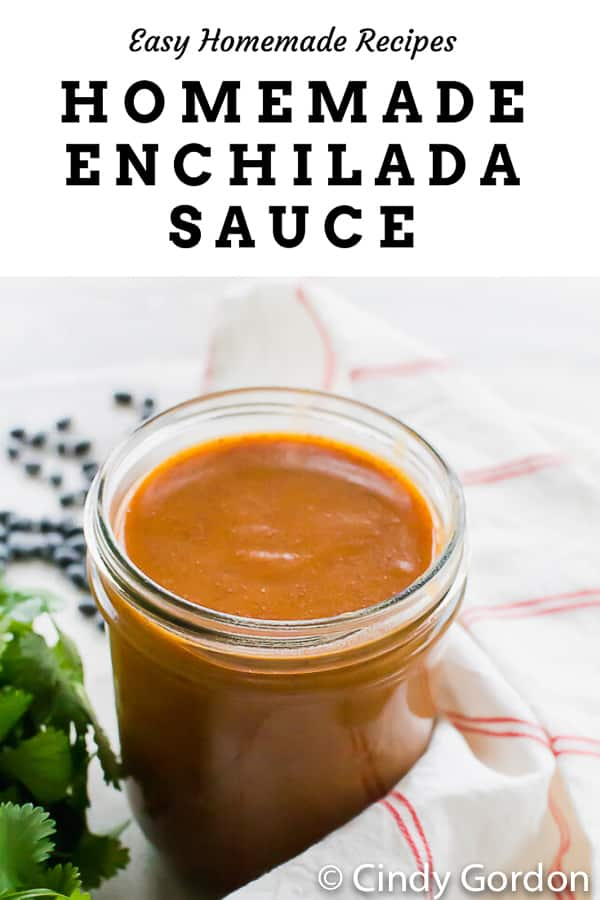 Homemade Vegan Enchilada Sauce is the perfect red sauce for all your Mexican-inspired dishes! Top yummy rolled corn tortillas with this simple tomato sauce with chili powder, cumin, garlic powder, and oregano.