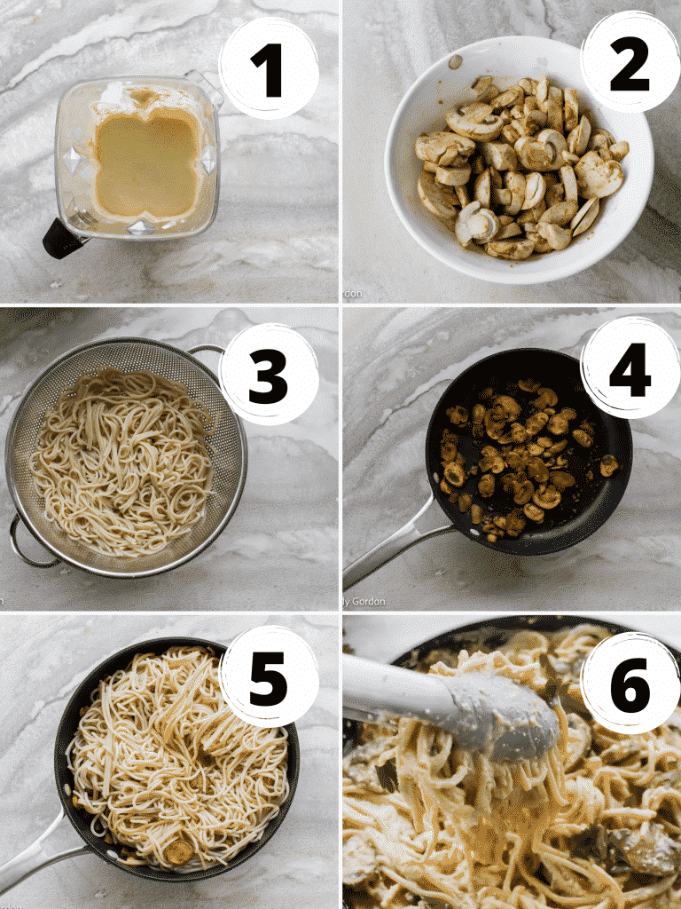Collage of steps to make vegan carbonara with mushrooms and spaghetti noodles
