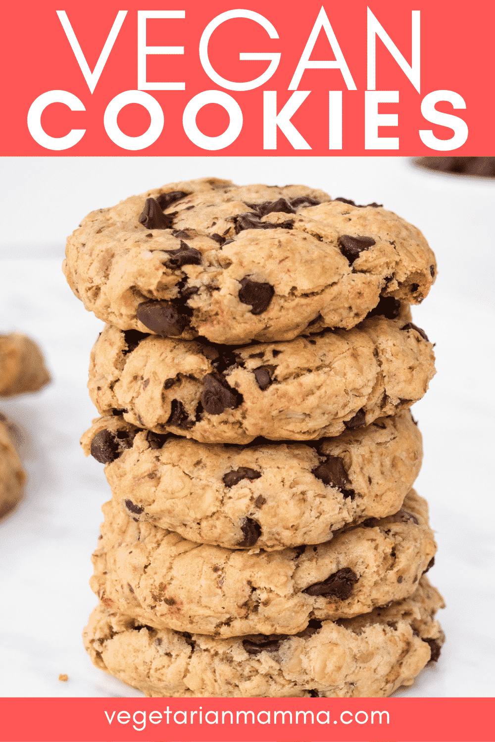 Vegan Oatmeal Chocolate Chip Cookies are chewy, soft, and packed with chocolate! These are truly the best gluten-free cookies. #glutenfreecookies #vegandessert