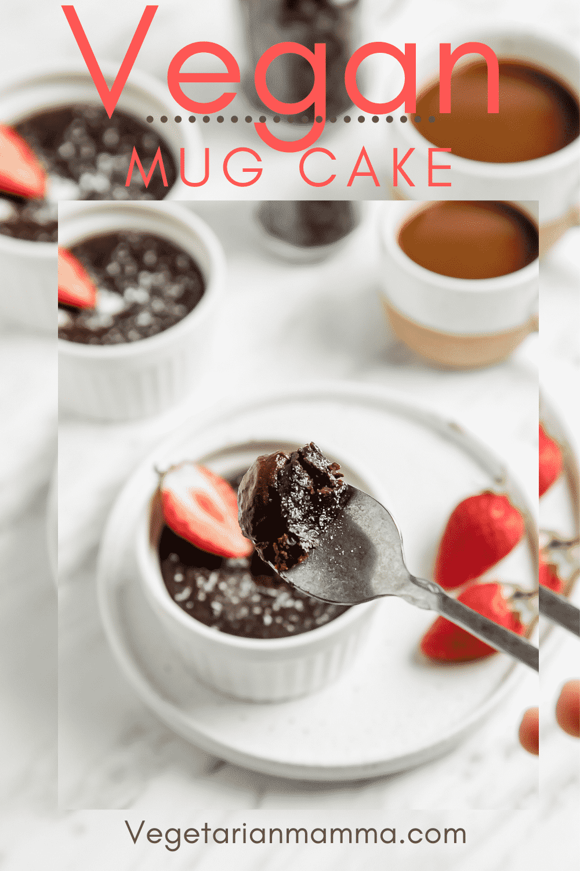 Vegan Chocolate Mug Cakes are the perfect single-serve dessert! These decadent gluten-free chocolate cakes are so rich and chocolatey, you'll never believe it was made in the microwave. #vegandessert #mugcake #latenightsnack