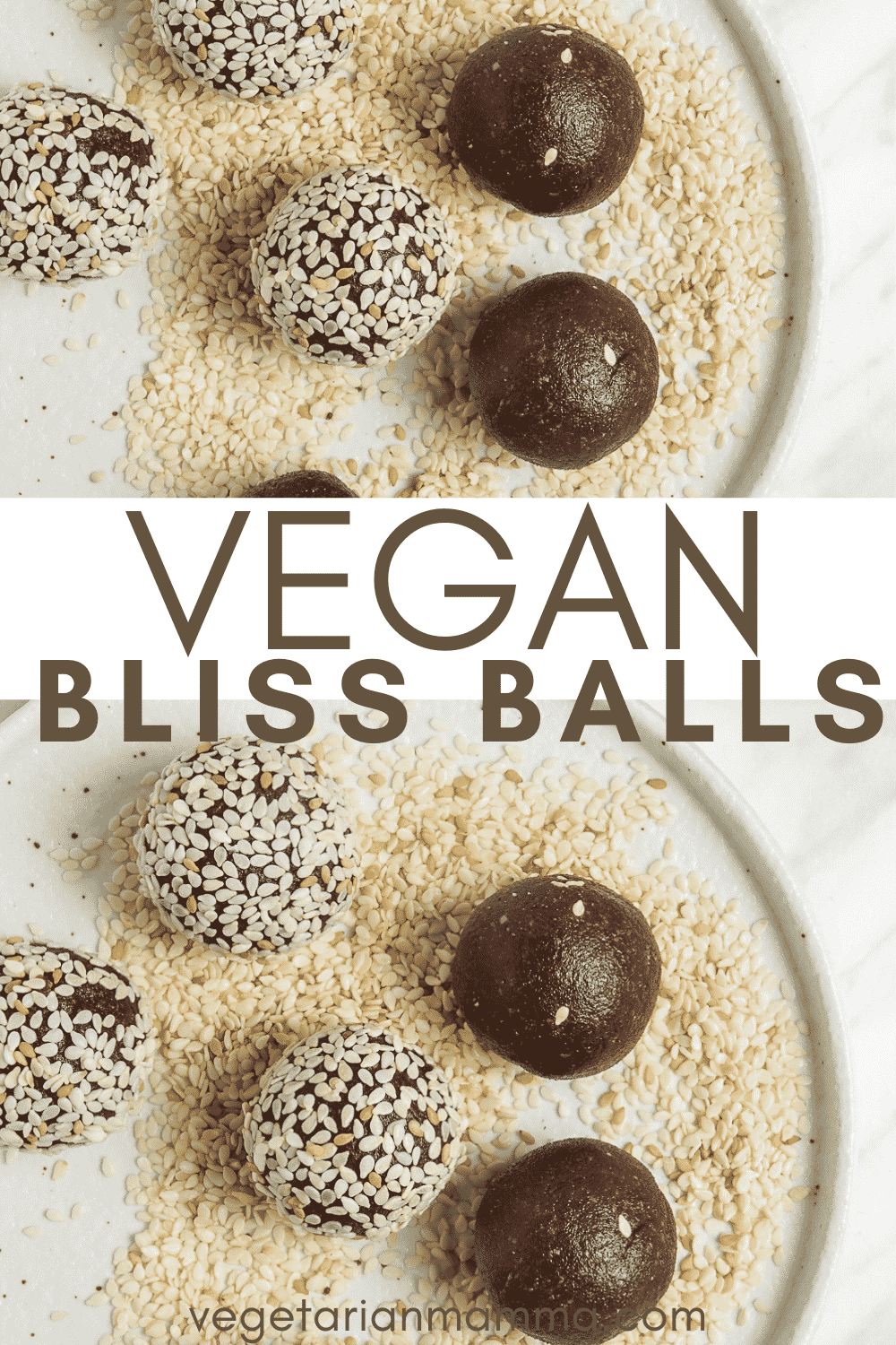 Bliss Balls are so decadent you'll forget they're healthy, too! These vegan chocolate tahini balls are covered in sesame seeds for the best no-bake dessert, afternoon snack, or even breakfast on-the-go. #vegansnack #energyballs