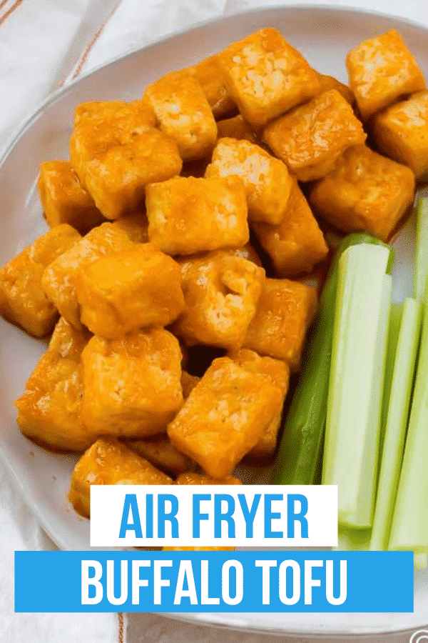 Buffalo Tofu is the spicy, tangy tofu recipe your family will love! Make your own Buffalo sauce with just 4 ingredients to coat this crispy air fryer tofu that's ready in less than 30 minutes.