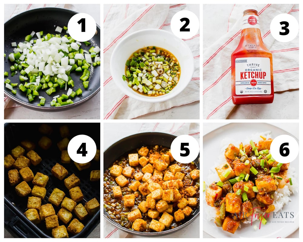 Collage of steps to make Manchurian sauce for air fried tofu