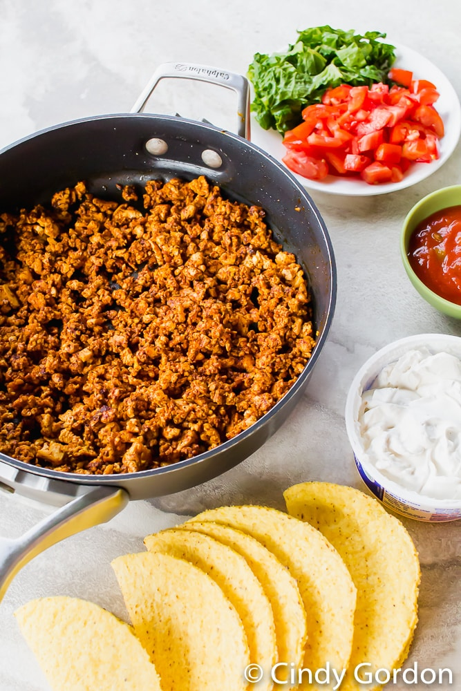 Close-up shot of seasoned tofu, hard taco shells, salsa, sour cream, and vegetables