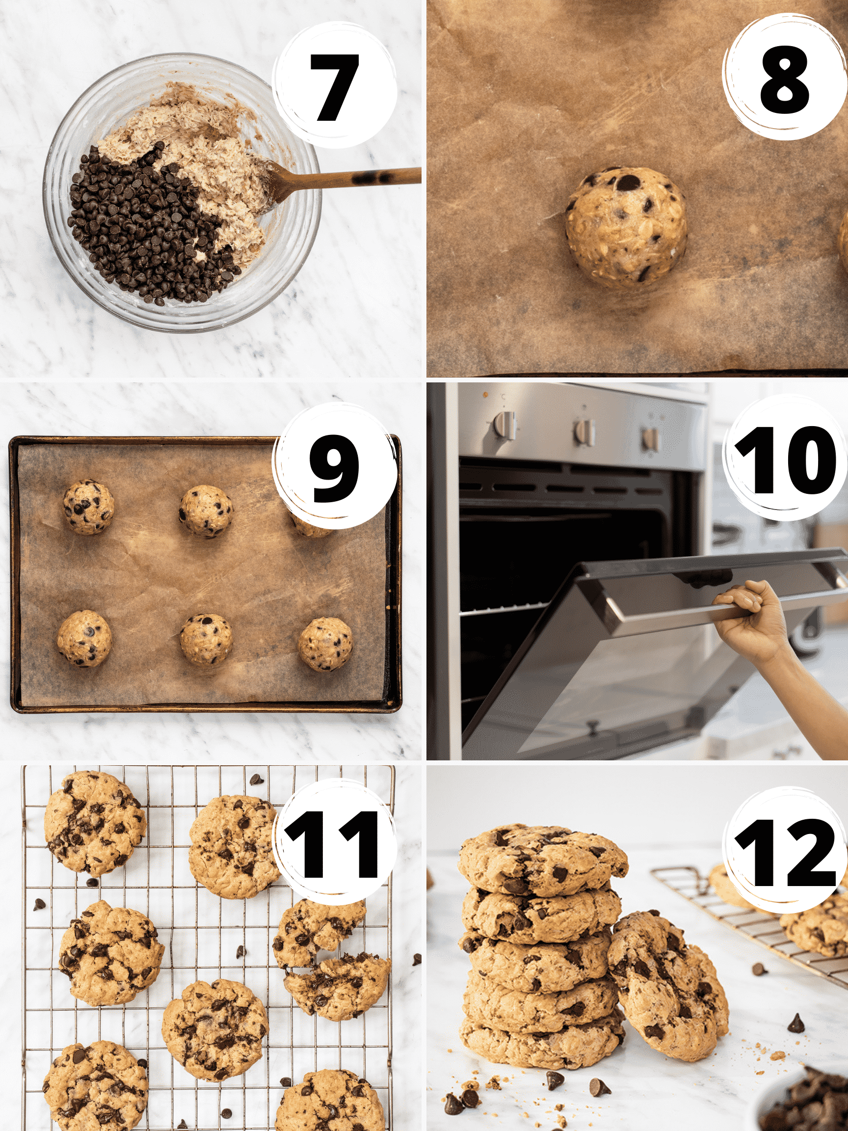 A collage of steps to make vegan oatmeal chocolate chip cookies