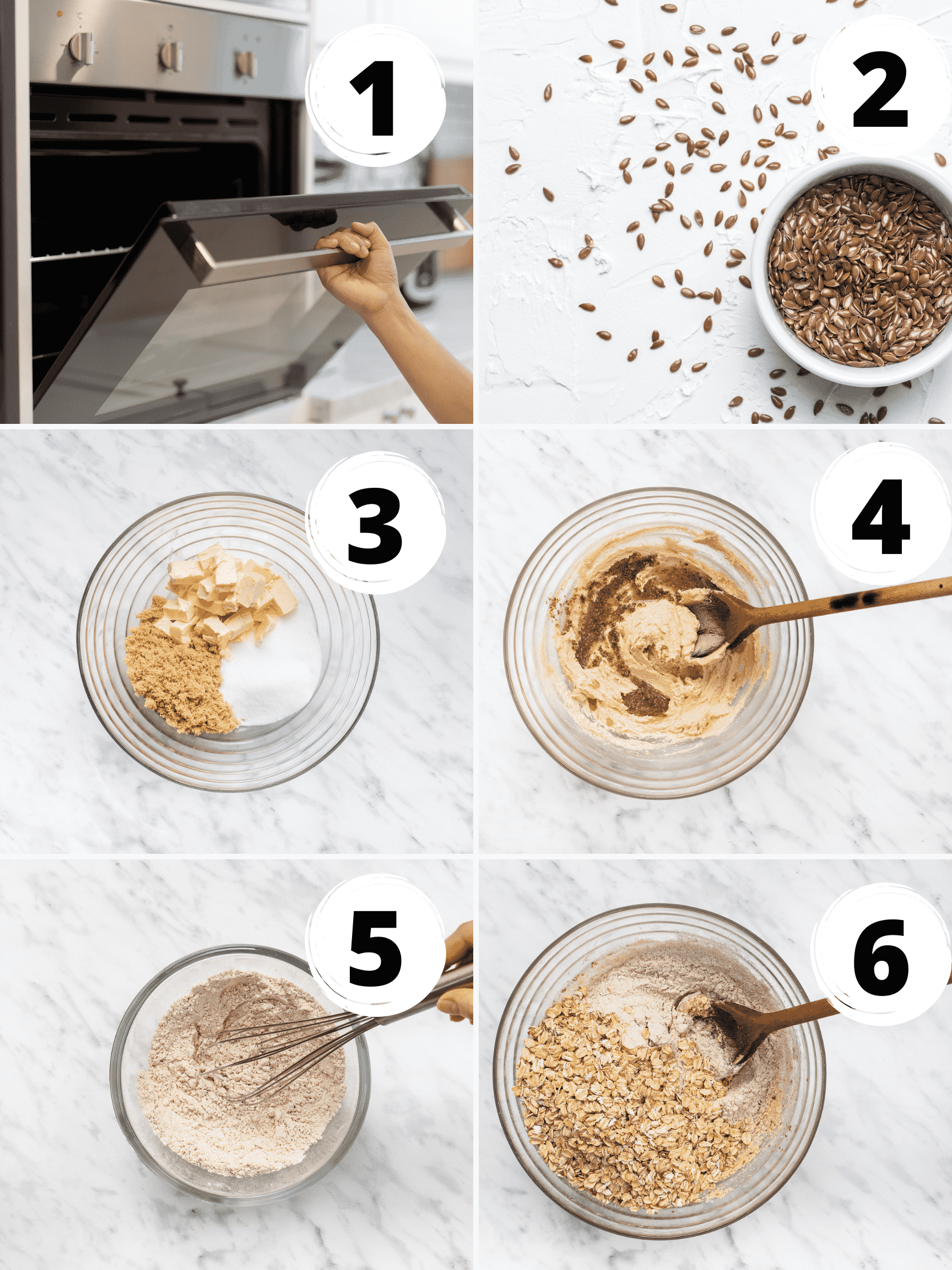 Collage of steps to make vegan oatmeal cookie dough