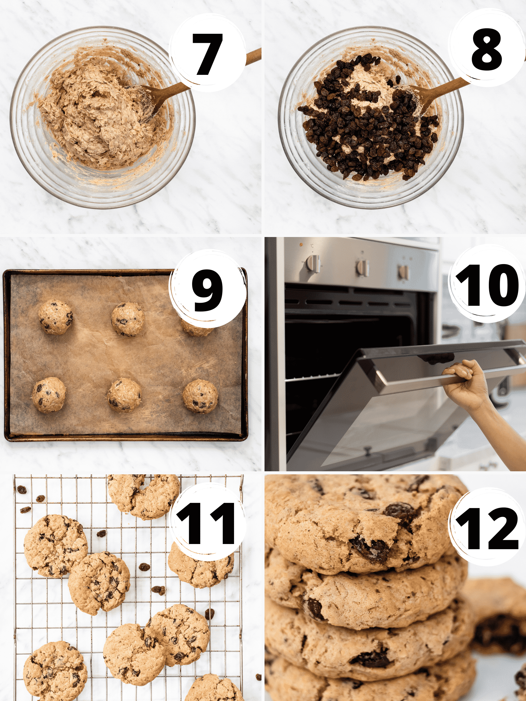 Collage of steps for how to make vegan oatmeal raisin cookies