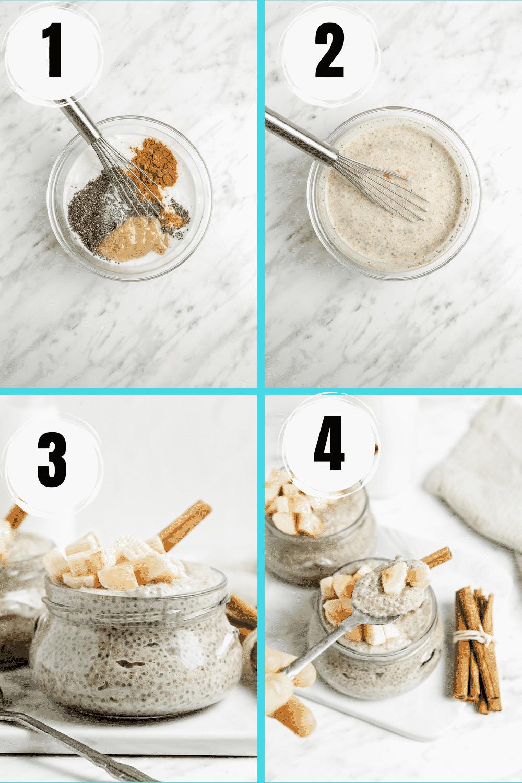 Collage of steps to make vegan banana chia seed pudding