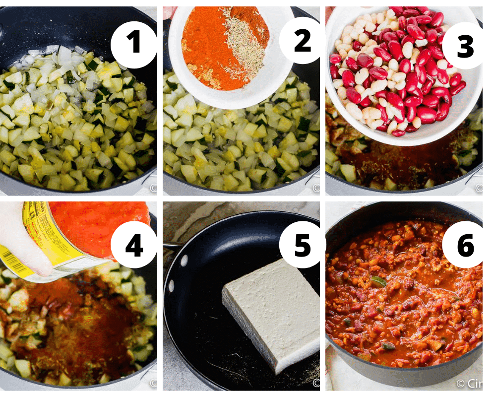 Collage of steps to make tofu chili with zucchini and beans