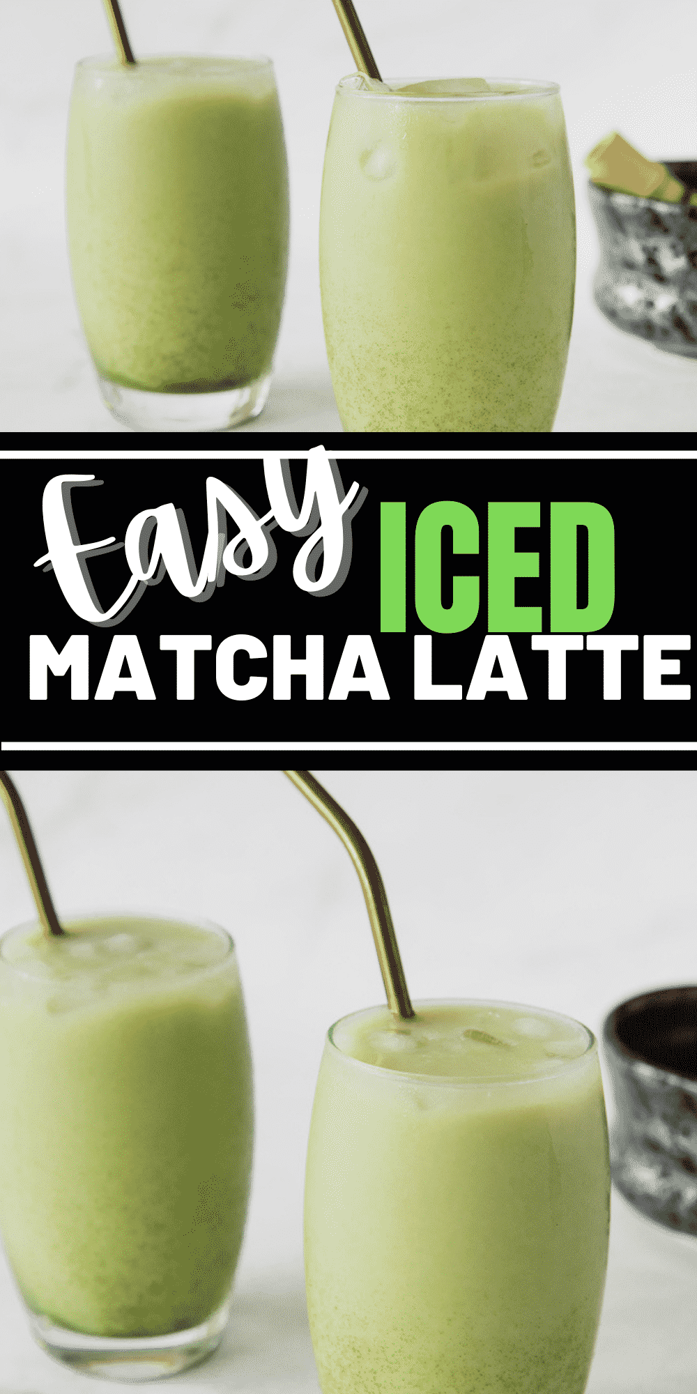 This iced matcha latte is a creamy and refreshing drink perfect for any occasion. Ditch the fancy coffeeshop and make this iced matcha latte at home!