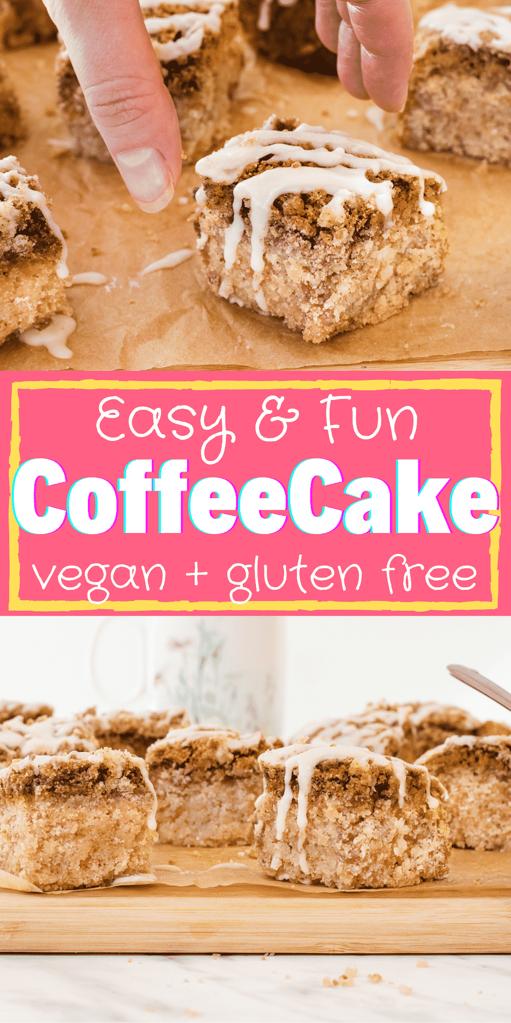 Vegan Coffee Cake is so easy to make! Add this simple icing drizzle over the cinnamon streusel topping for the best sweet breakfast treat that's perfect for holiday mornings.