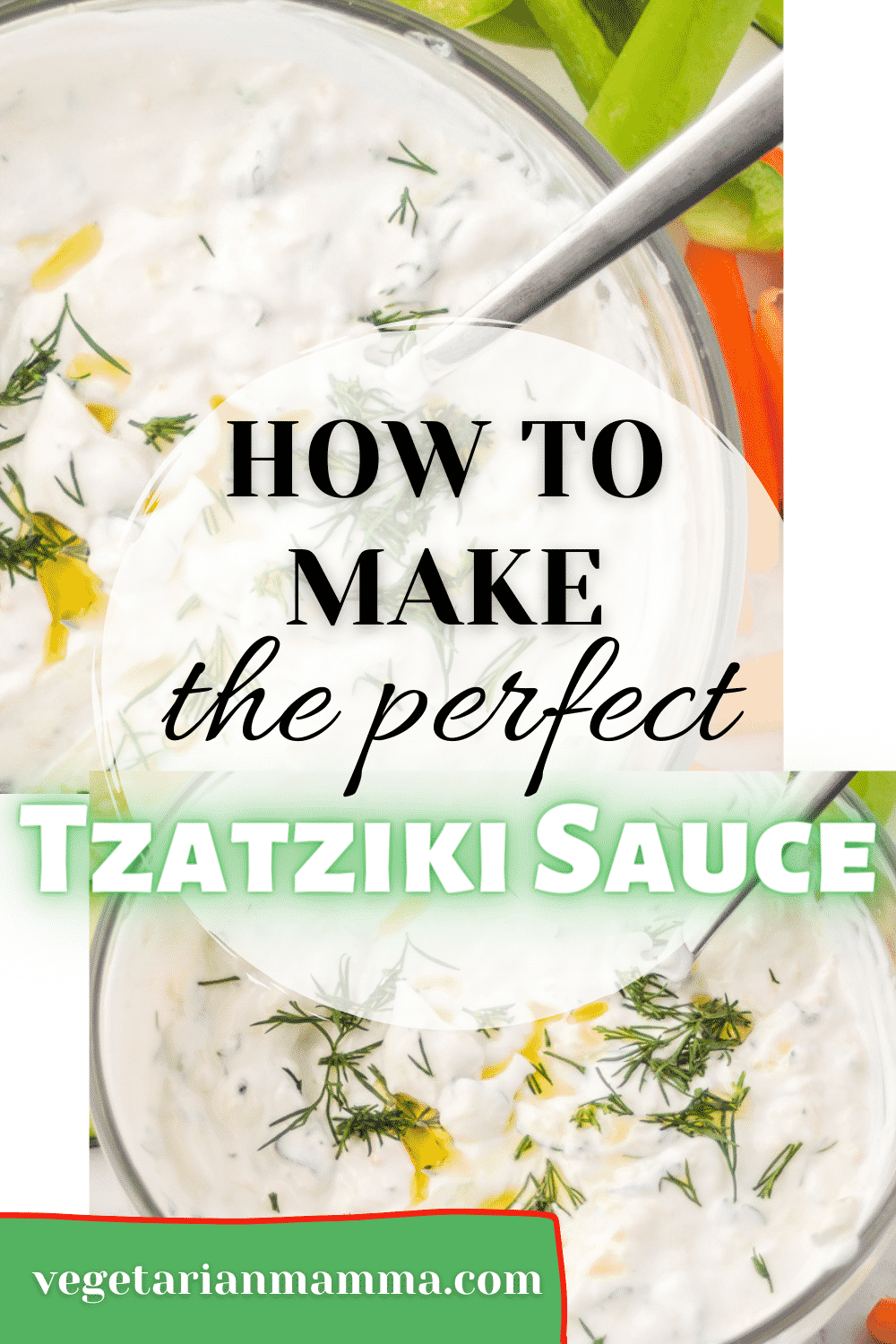 This Mediterranean Sauce is so creamy and perfect on everything! Whip it together in just a few minutes with tangy Greek yogurt, lemon juice, and of course cucumbers. #tzatzikisauce #greek