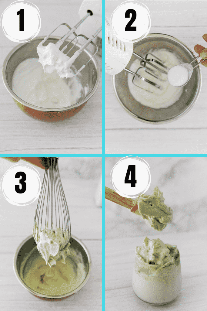 four picture 4 step collage showing how to make matcha dalgona. Whip the egg whites, add sweetener, whisk, add matcha powder, whisk, pour milk into glass, top with whipped green cream