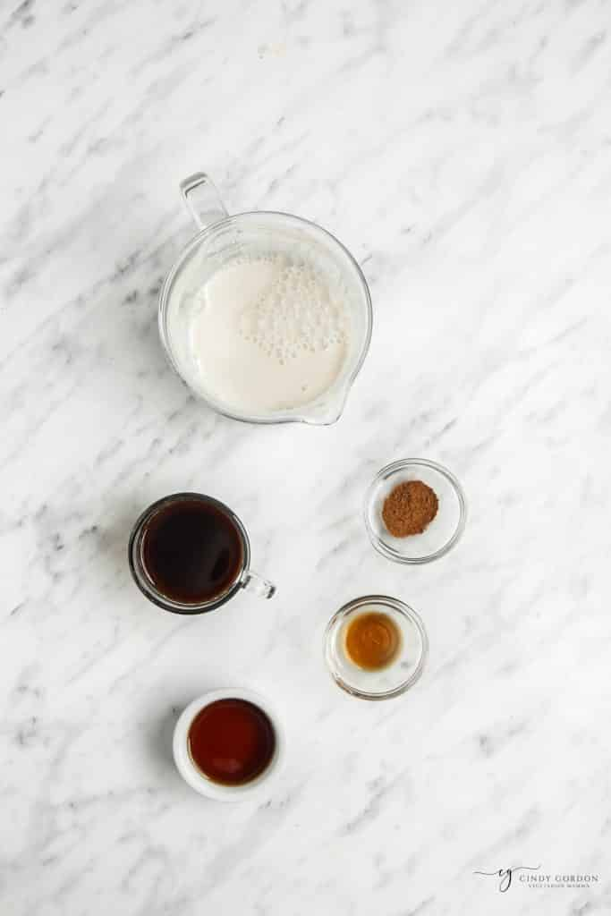 ingredients of an oat milk latte
