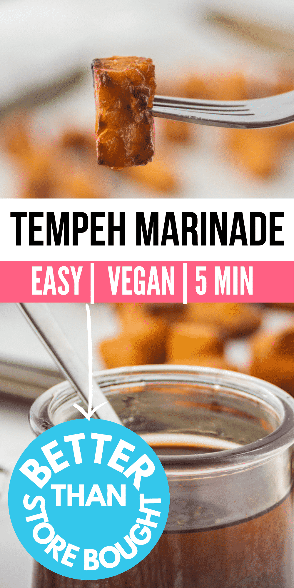 Tempeh Marinade is so easy and brings tons of flavor to this plant-based protein. Whisk it up in mere minutes and marinate all your favs, from tempeh and tofu to veggies, too! #vegan #tempehmarinade