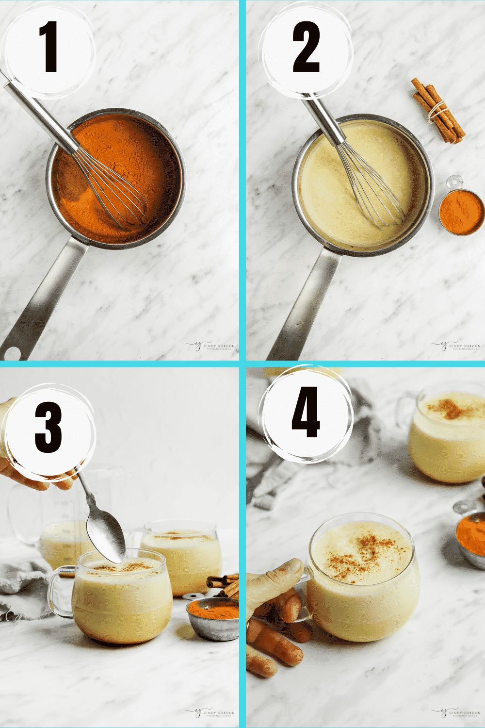 four step collage photo showing how to make turmeric lattes. Mixing ingredients, whisking, heating, put into glasses