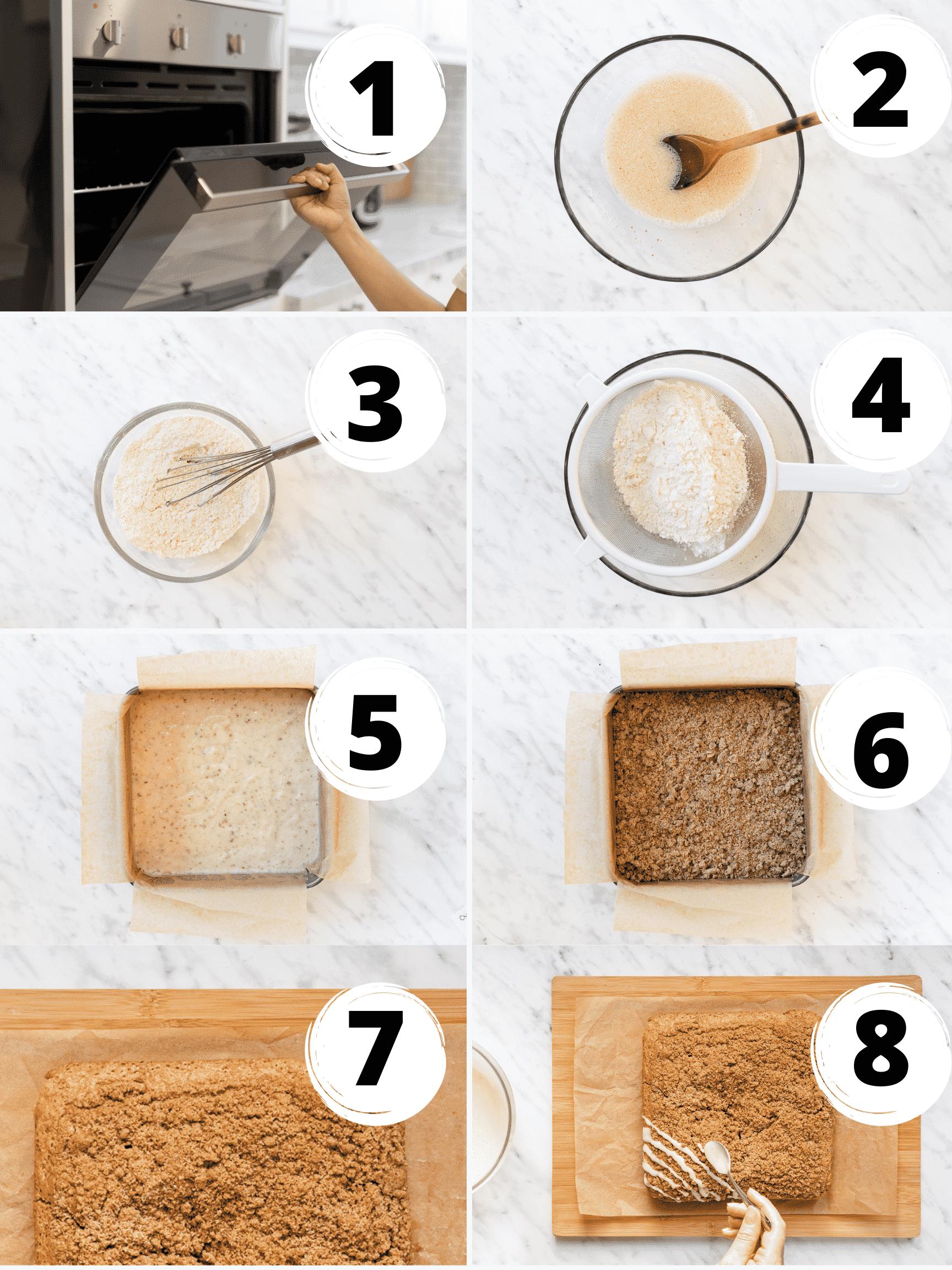 collage of steps to make vegan coffee cake