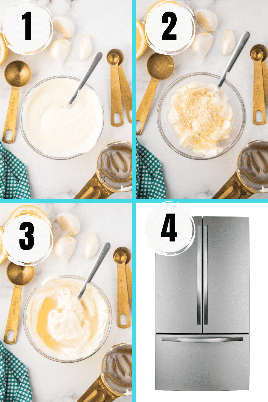 Collage of 4 steps to make a creamy lemon and garlic vegan aioli