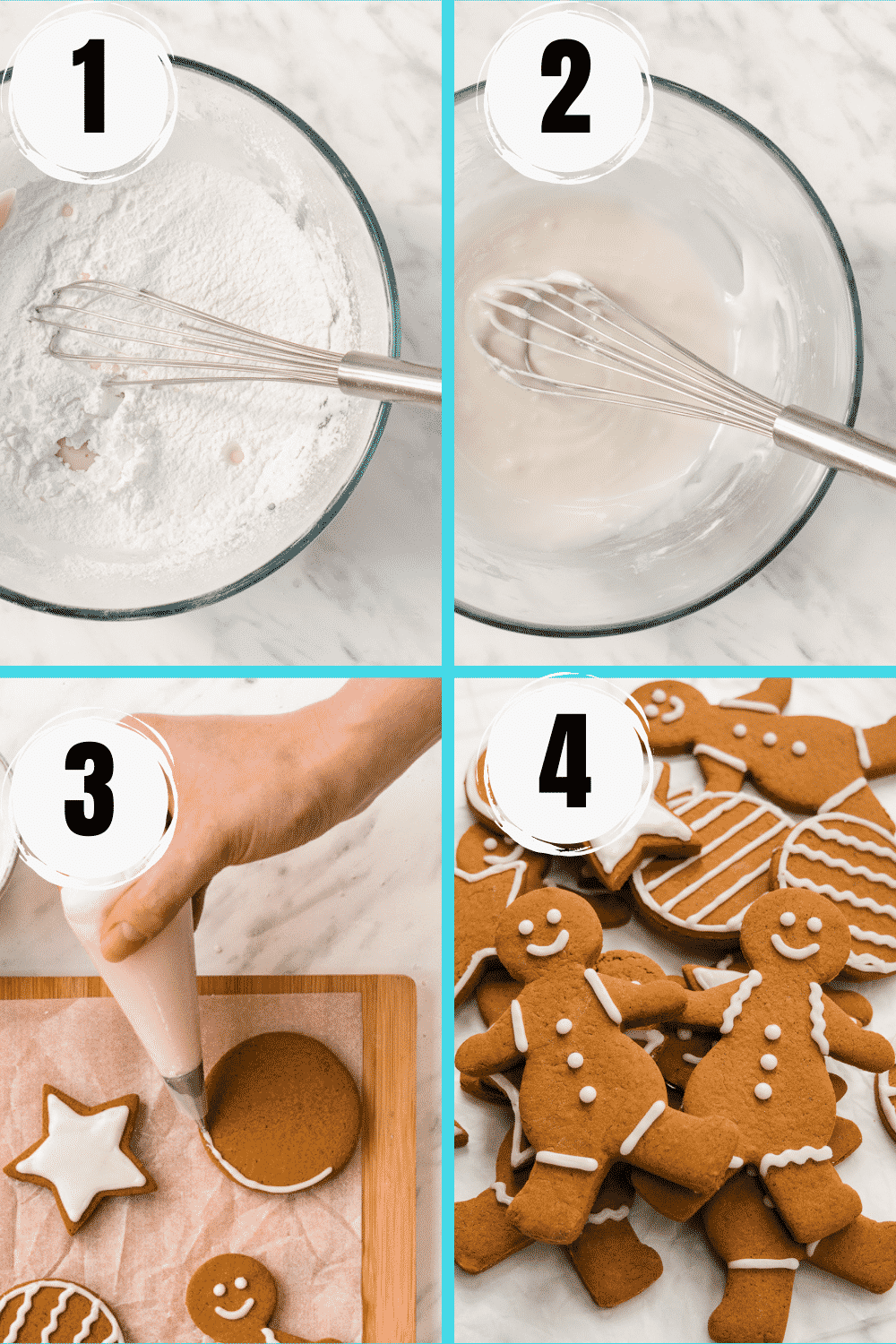 Collage of 4 steps to make royal icing and decorate gingerbread cookies