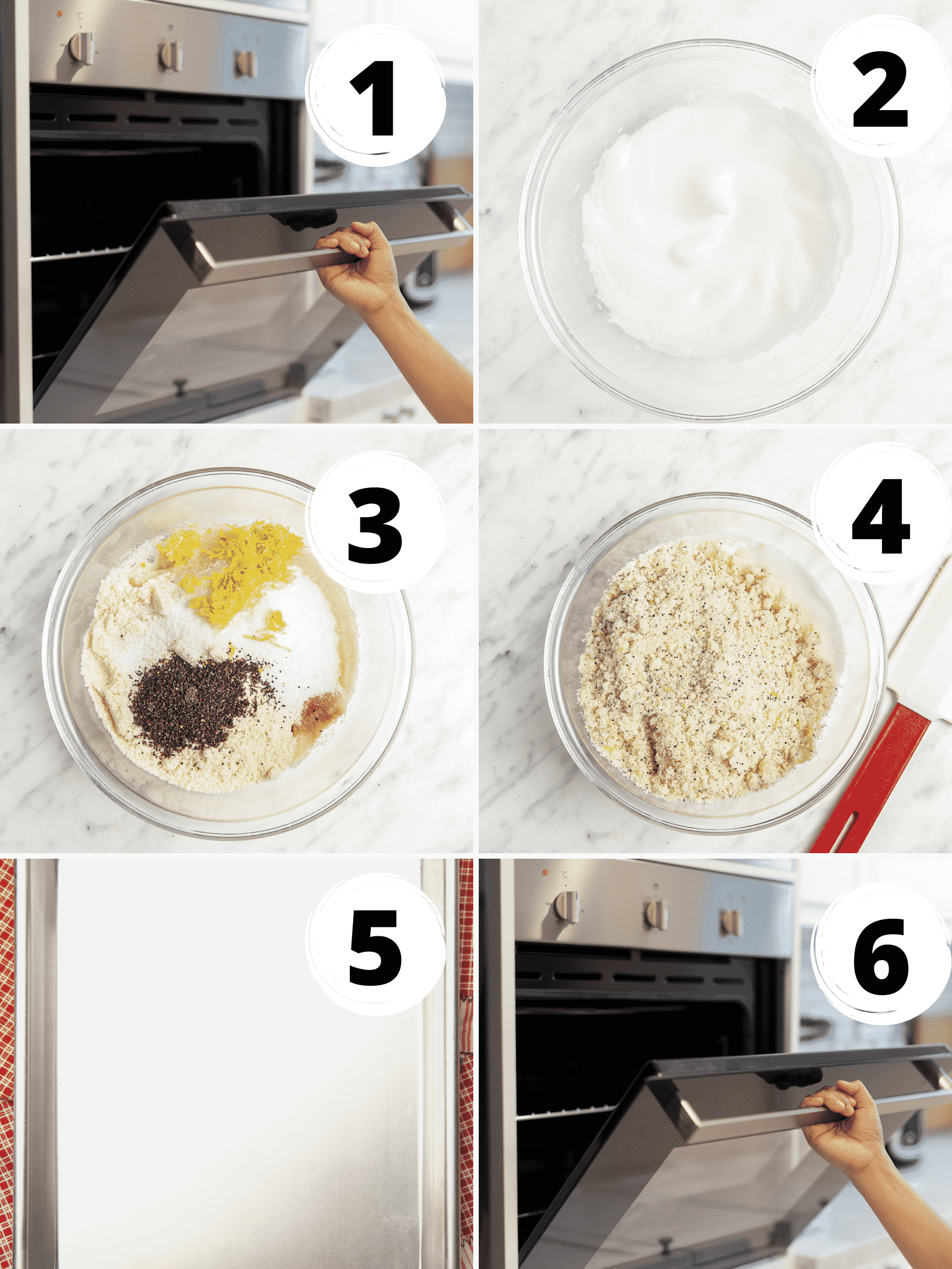 Collage of 6 steps to make gluten-free lemon cookies