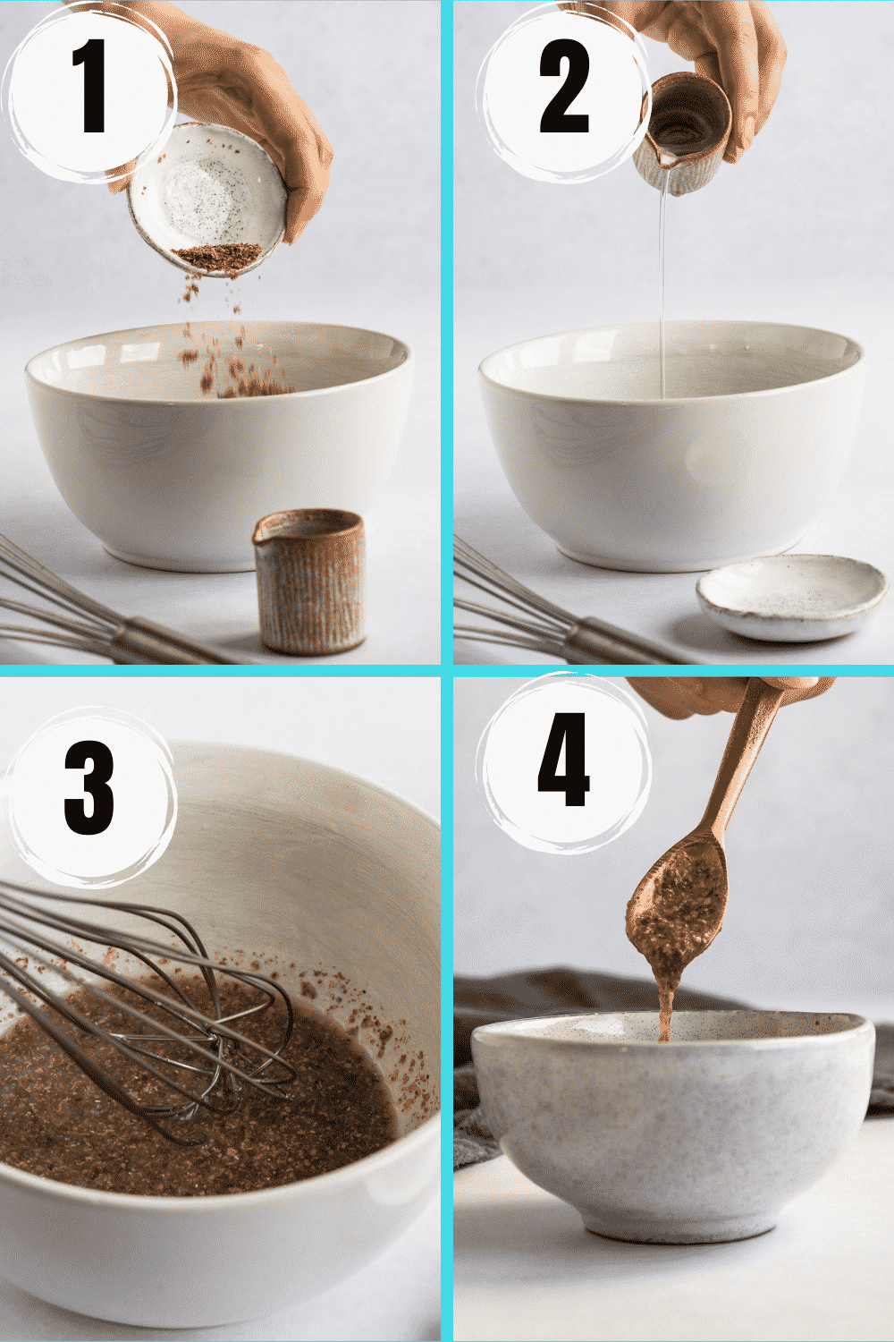 How to make a flax egg collage with water and ground flaxseed in 4 steps