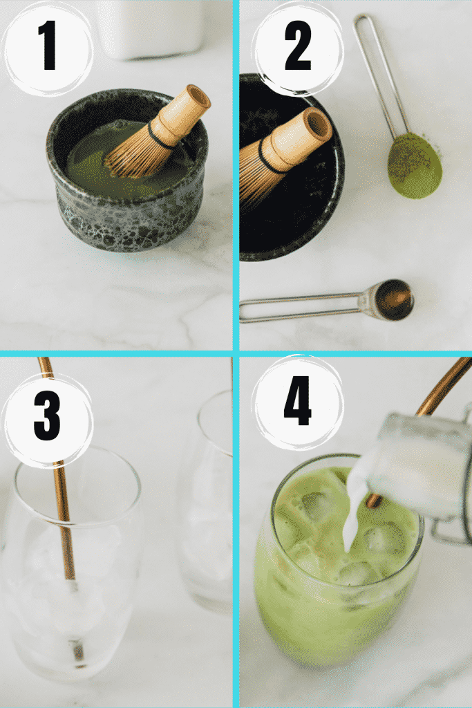 four picture collage showing steps to make an iced matcha latte.  Mixing powder, adding sugar , adding milk.