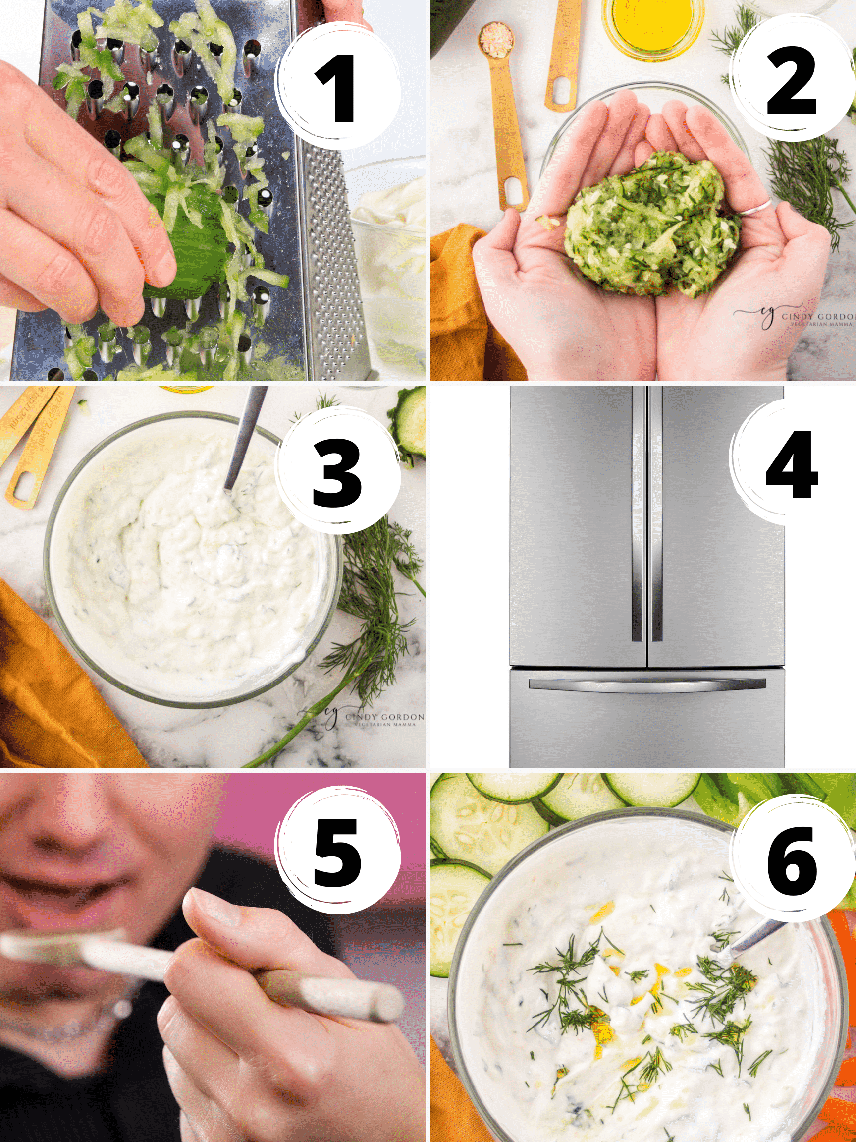 A collage of 6 steps to make the creamiest tzatziki dressing