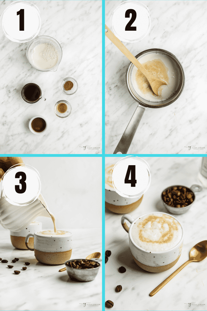 four picture vertical collage showing how to make oat milk lattes. First gather ingredients and measure them. Heat all ingredients into pot. Whisk until foamy pour into cup.