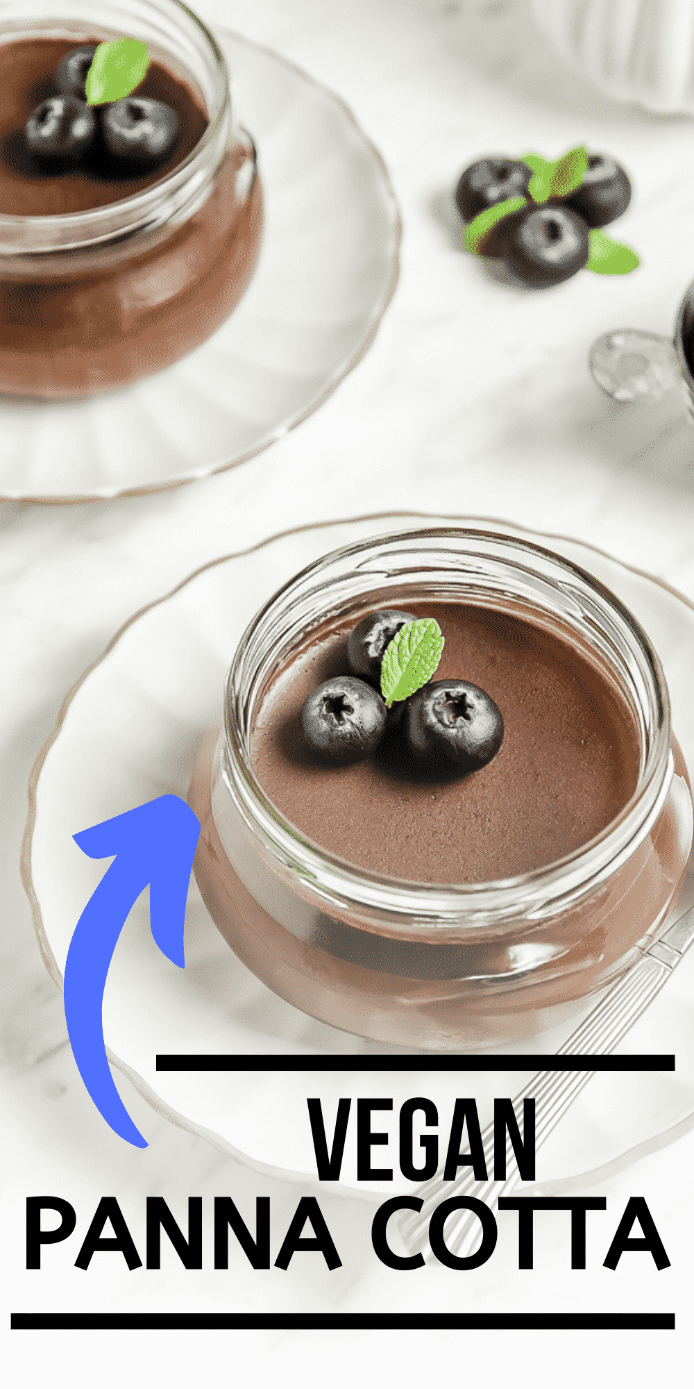 Vegan Panna Cotta is so decadent and creamy with just 6 ingredients and no gelatin! This amazing chocolate dessert comes together in just a few minutes to impress at your next party. #vegandessert #glutenfreedessert