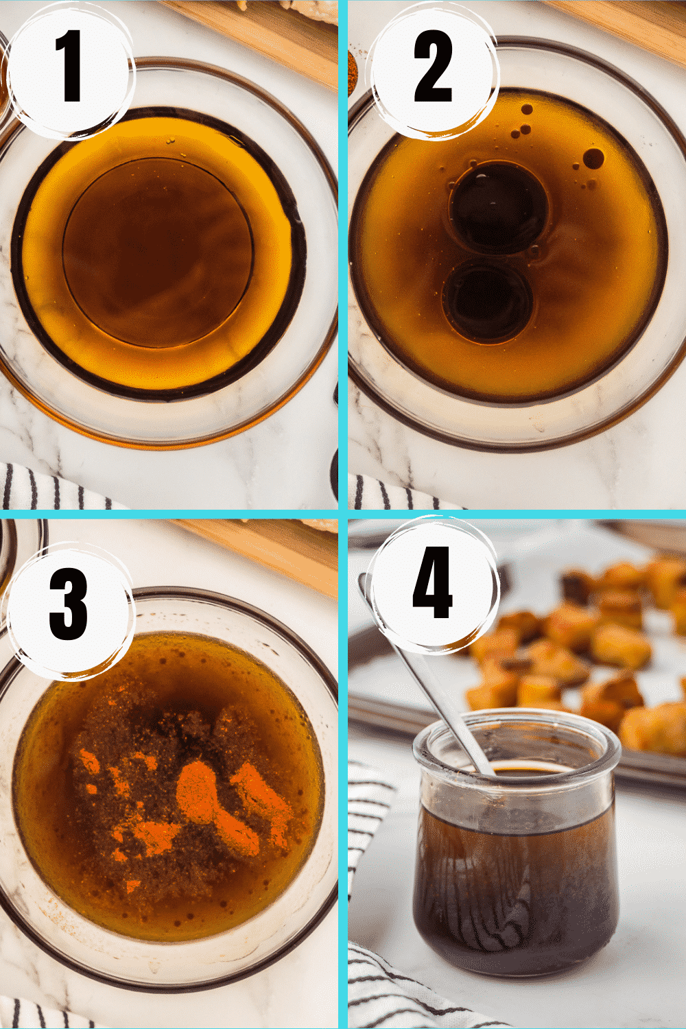 A collage of 4 steps to make a simple homemade tempeh marinade