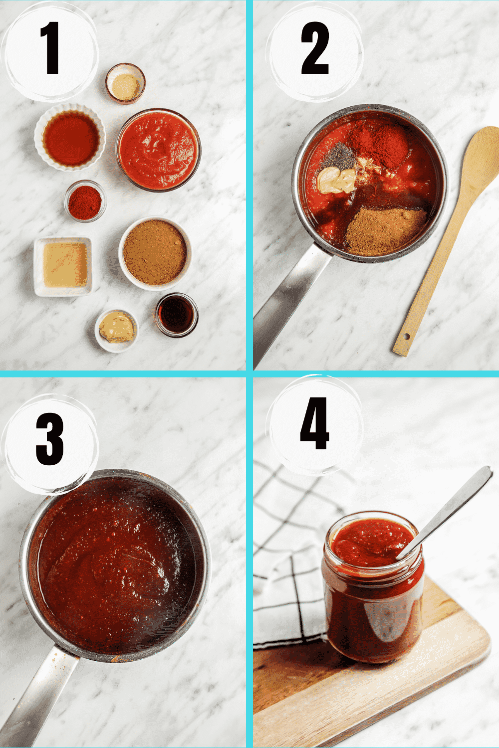 Collage of 4 steps to make vegan bbq sauce from scratch