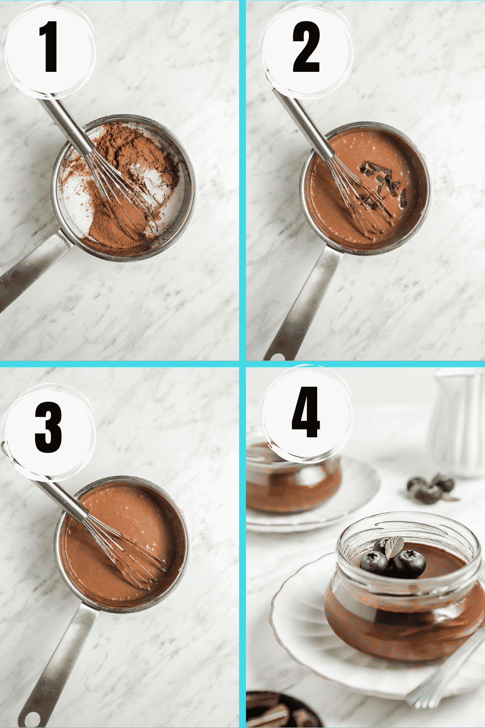 A collage of 4 steps to make the best vegan chocolate panna cotta