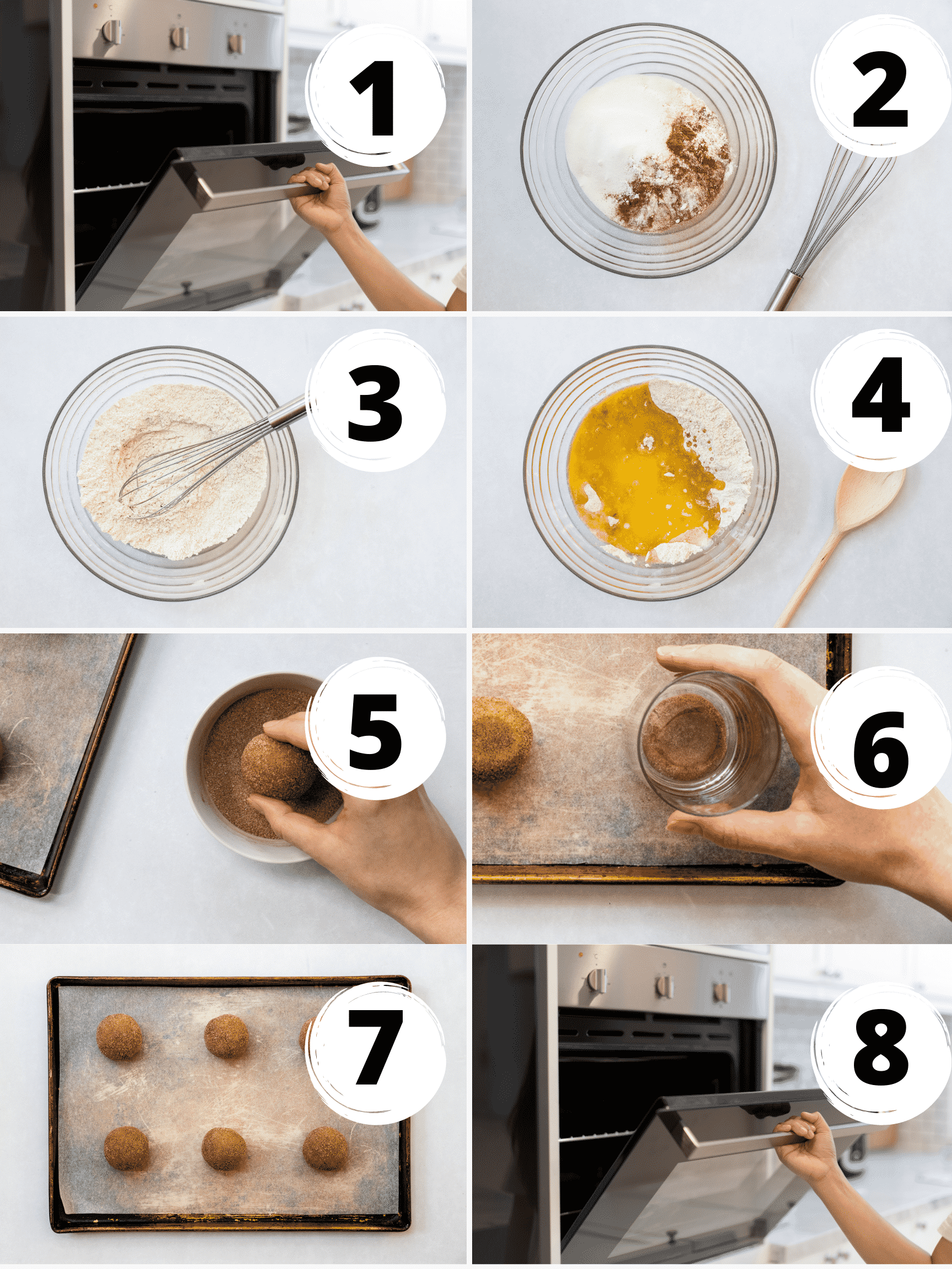 Eight steps to make vegan snickerdoodle cookies with almond flour