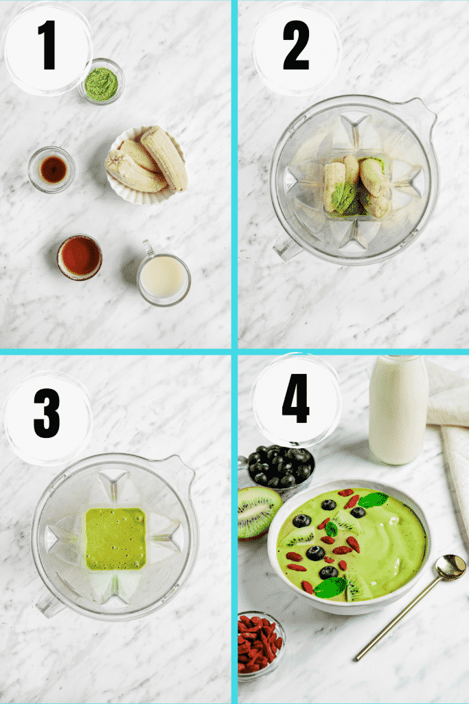 collage picture of the 4 steps to make a matcha smoothie bowl