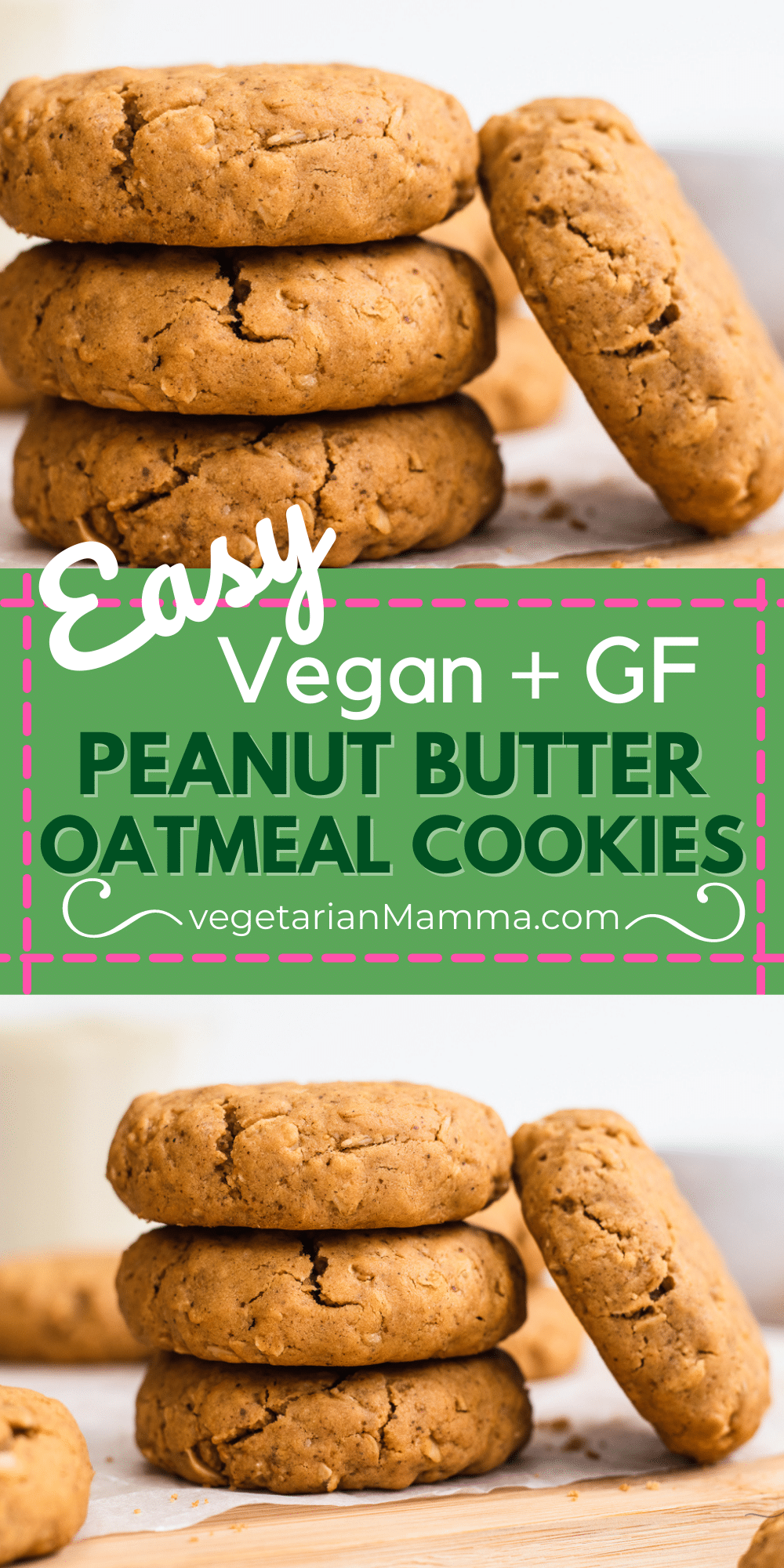 These Vegan Peanut Butter Oatmeal Cookies are so moist and gluten free, too! Made with rolled oats, natural peanut butter, and gluten-free flour, these are the easiest cookies to make without a mixer.