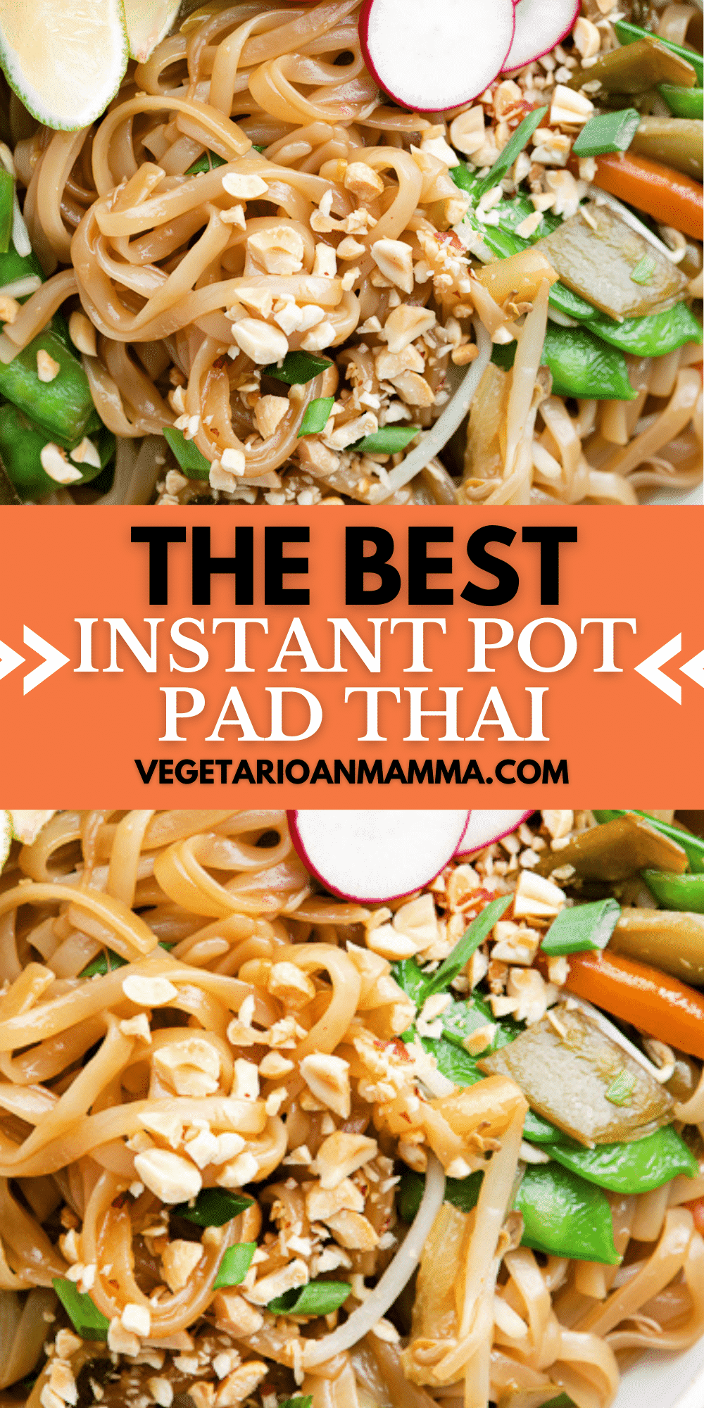 Make this wonderfully seasoned Pad Thai dish, packed with vegetables and noodles, in the Instant Pot for a simple, fast, homemade meal that's better than takeout. #instantpot #padthai