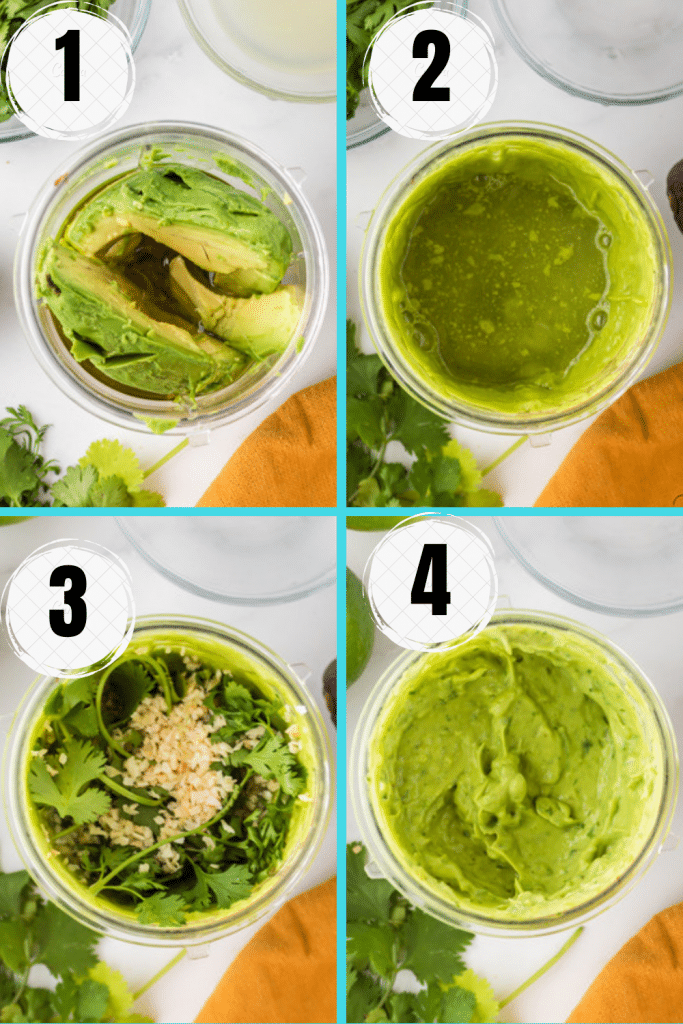 photo collage showing four steps needed to make vegan avocado dressing