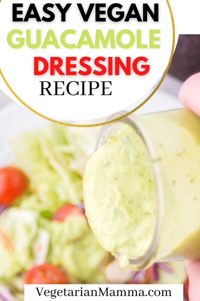 vegan avocado dressing pouring onto a salad, with text overlay.