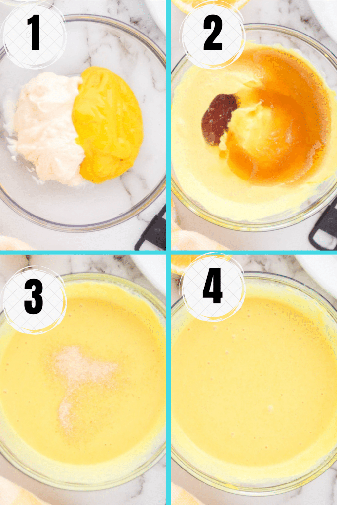 photo collage showing four steps needed to make vegan honey mustard