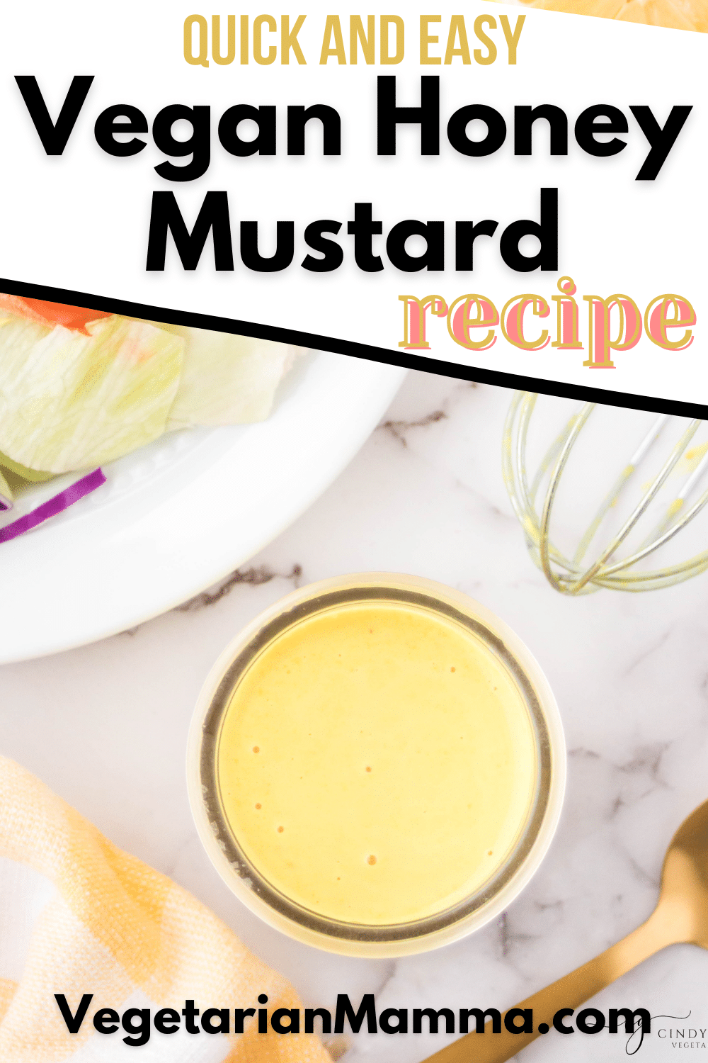 Vegan honey mustard sauce is the delicious dip that goes with anything! Enjoy dipping your favorite foods into this sweet and tangy sauce. #vegan #honeymustard
