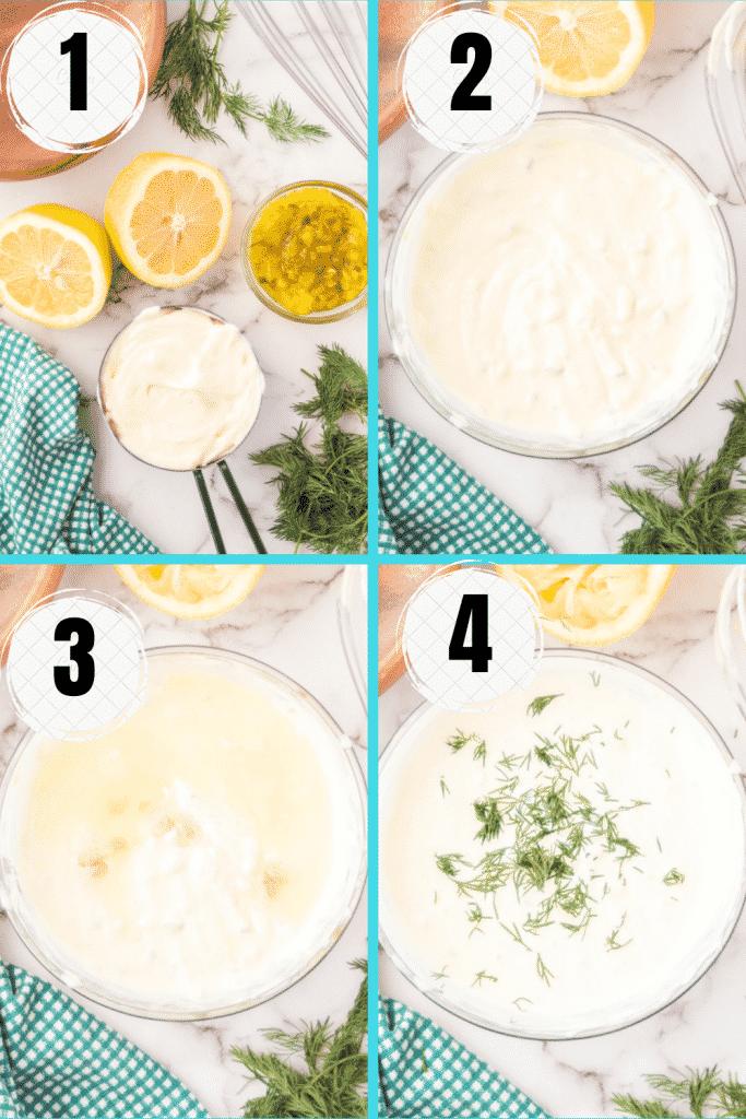 photo collage showing four steps needed to make vegan tartar sauce