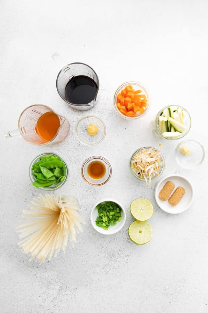 Ingredients for instant pot pad thai, each in separate bowls