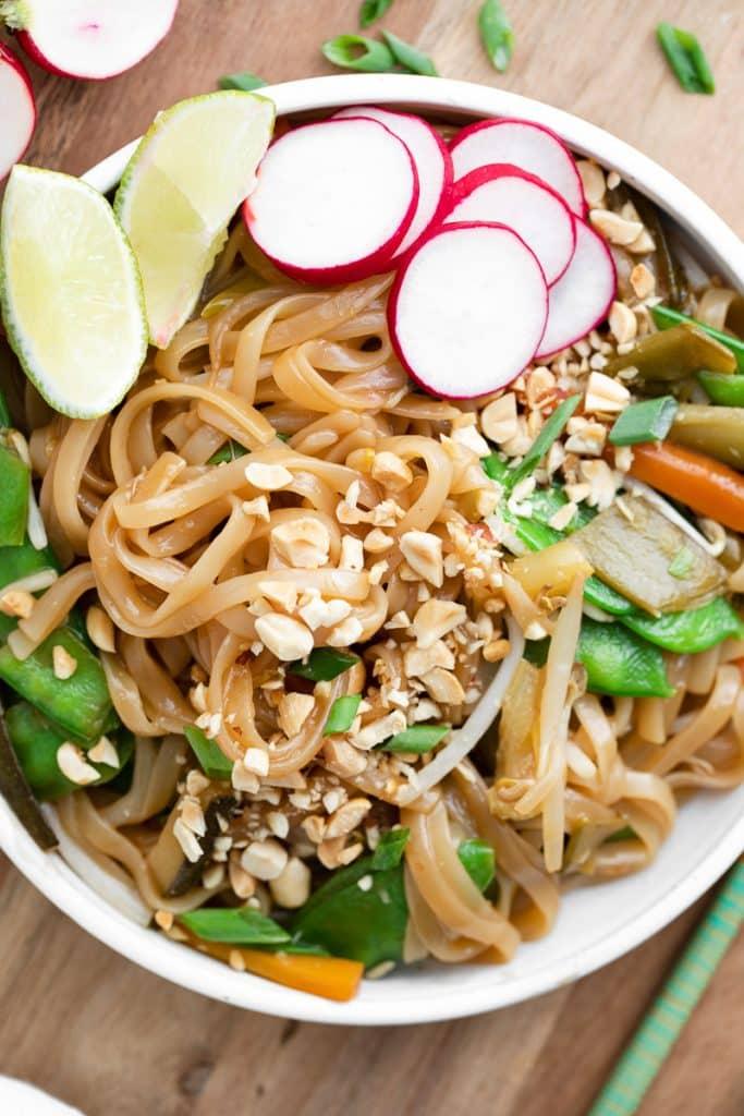Closeup view of instant pot pad thai