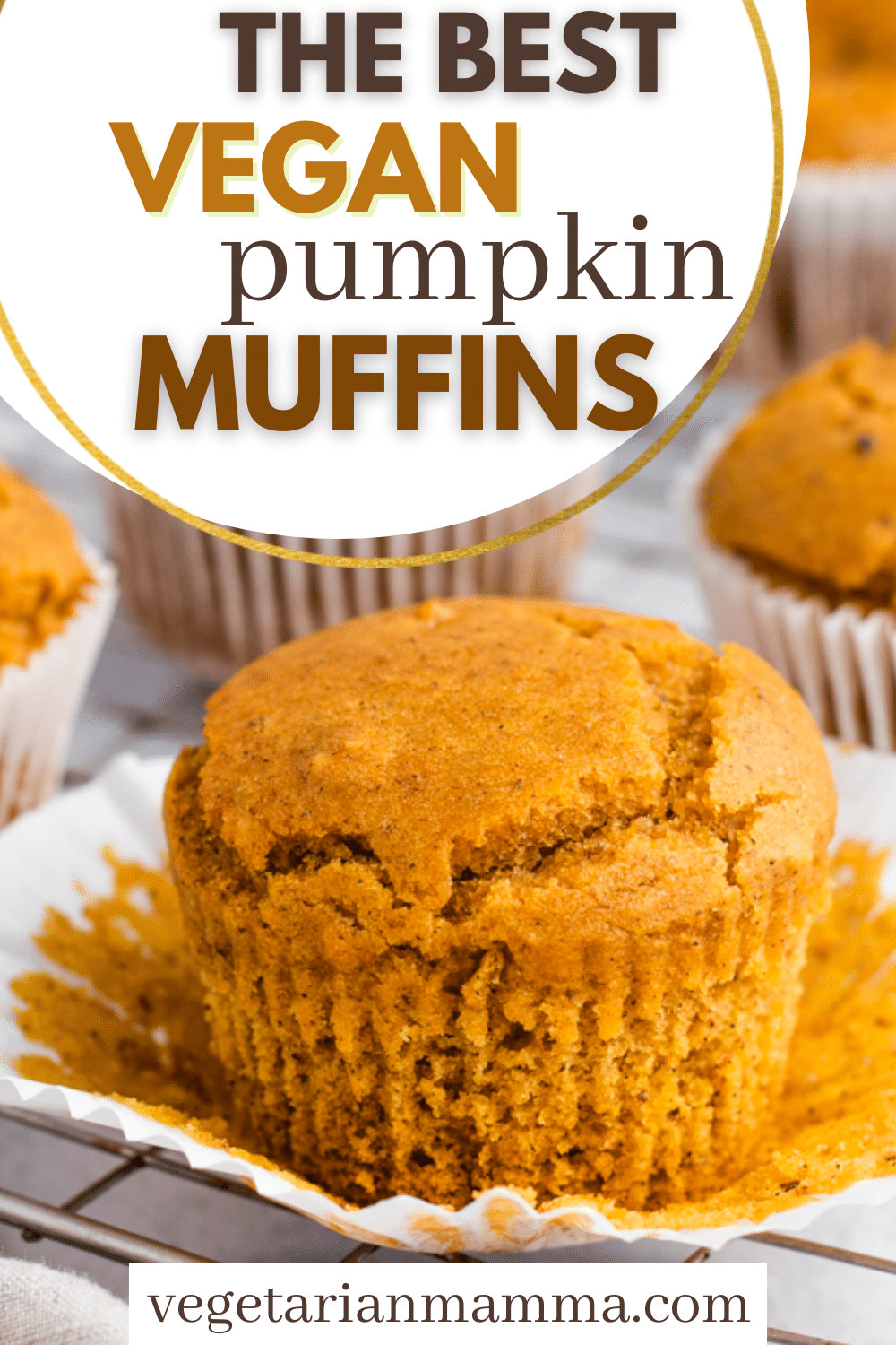 Vegan Pumpkin Muffins are the best fall breakfast! You'll be craving these easy-to-make sweet pumpkin spice muffins all year long. Perfect for meal prep.